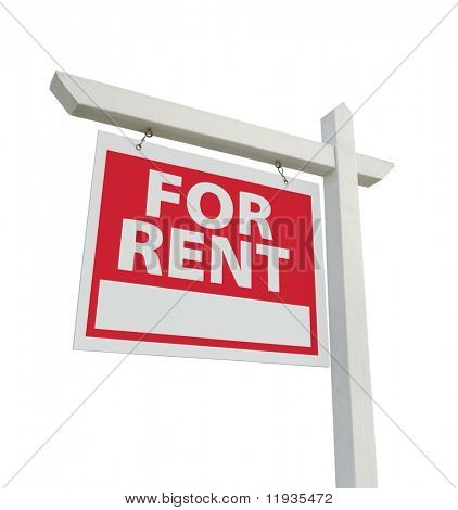 For Rent Real Estate Sign Isolated on a White Background.
