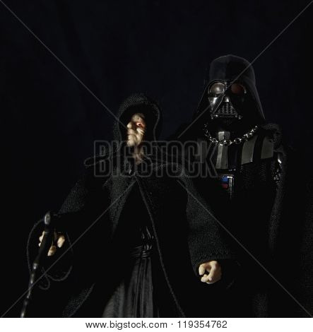 BLOOMFIELD, NEW JERSEY -  FEB 22, 2016: Star Wars Hasbro Black Series figures recreate the concept of Master and Apprentice of the Dark Side of the Force with Darth Sideous and Darth Vader.