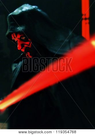 BLOOMFIELD, NEW JERSEY -  FEB 22, 2016: Star Wars Hasbro Black Series Darth Maul and packaging recreate a scene from the film The Phantom Menace. Maul was apprentice to Darth Sidious.