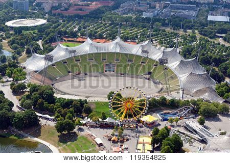 MUNICH GERMANY - AUGUST 4 2015: Aerial view of the Stadium in the Park constructed for the 1972 Summer seen from the 291 m high tower (Olympiaturm).