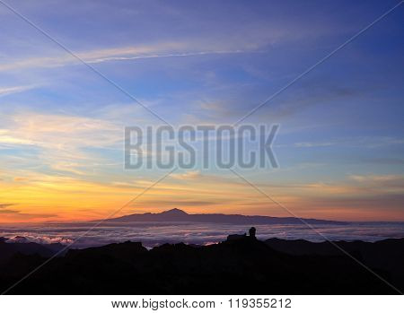 Vibrant sunset from the Canary islands