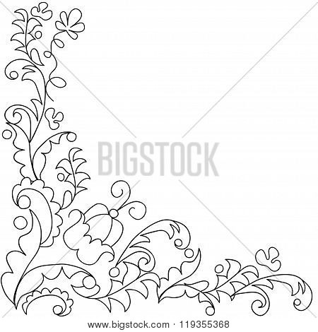 Card with black and white leafy frame.