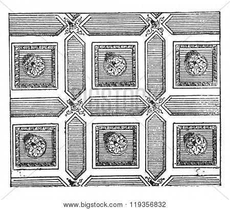 Coffered ceiling, vintage engraved illustration. Dictionary of words and things - Larive and Fleury - 1895.