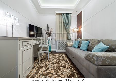 Sofa with decorative pillows in the guest room