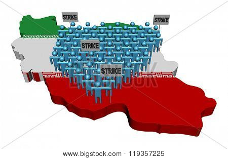 workers on strike on Iran map flag illustration