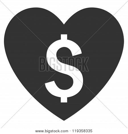 Paid Love Flat Glyph Icon