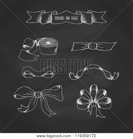 Hand drawn ribbons set. Vector banners collestion. Vintage decorative bows