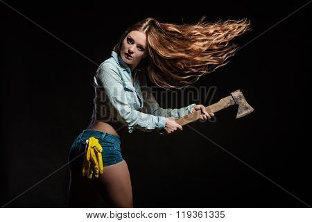 Feminist Woman With Hatchet.