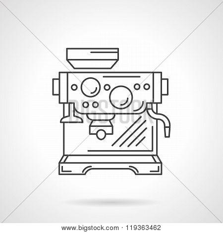 Espresso machine flat line vector icon