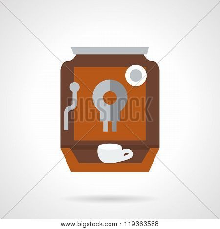 Brown coffee maker flat color design vector icon