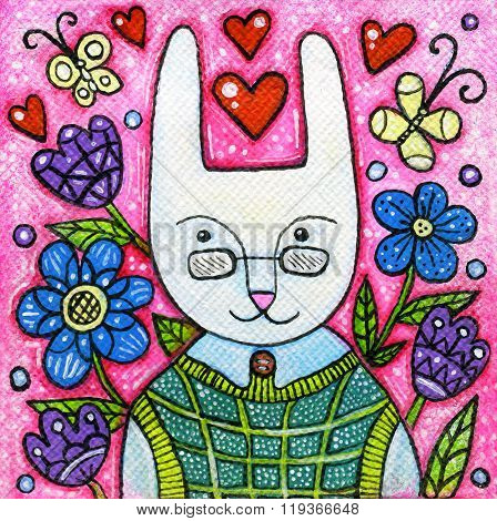 Spring Rabbit Portrait Acrylic Illustration