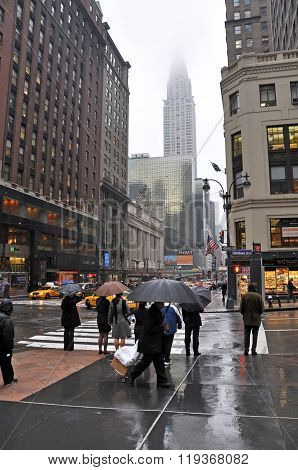 Wet Afternoon On The Corner Of Madison & 42nd Street