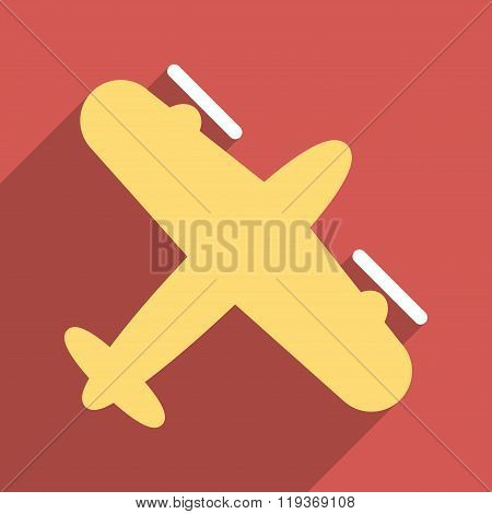 Screw Aeroplane Flat Longshadow Square Icon