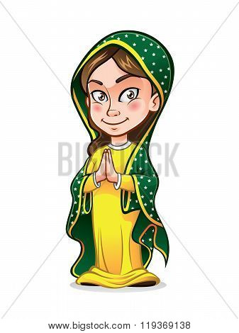 cute lady guadalupe being clasped her hands in the chest with wisdom and smiling