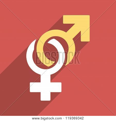 Sexual Symbols Flat Longshadow Square Icon