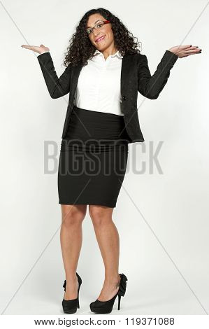 Female Business Student on White
