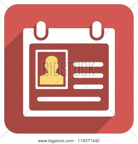 Personal Badge Flat Rounded Square Icon with Long Shadow