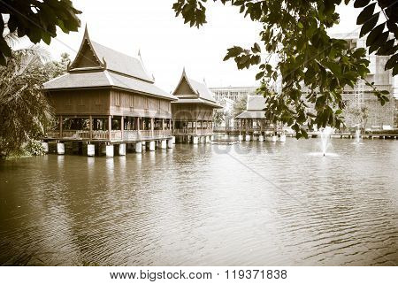 Black And White Tine Thai House Style Along The River, Thailand