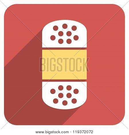 Plaster Flat Rounded Square Icon with Long Shadow