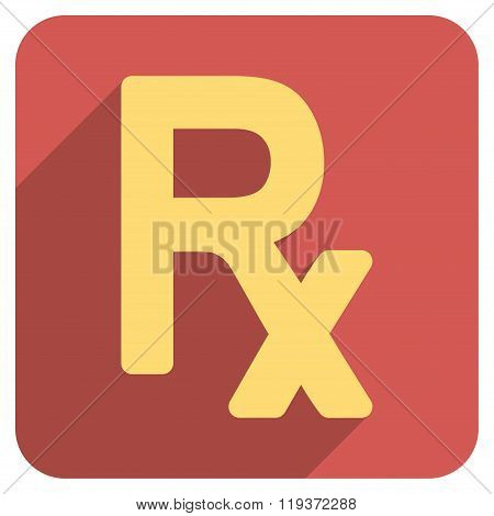 Prescription Symbol Flat Rounded Square Icon with Long Shadow