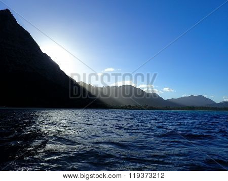 Koolau Mountains With Last Light Of Day Streaming Towards Water Of Waimanalo