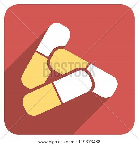 Pills Flat Rounded Square Icon with Long Shadow