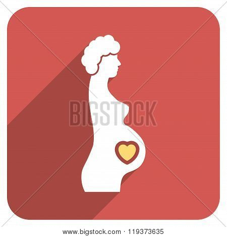 Pregnant Female Flat Rounded Square Icon with Long Shadow