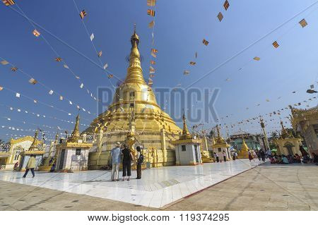 Yangon, Myanmar - December 29 : Unidentified Tourists At Botahtaung Pagoda On December, 2015, Yangon