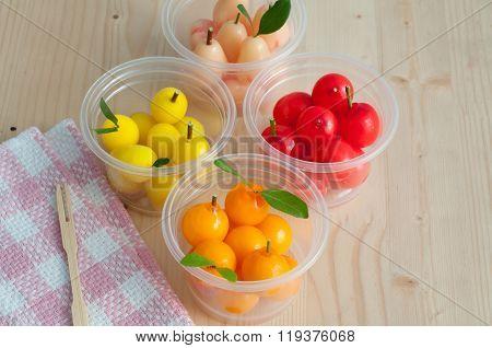Delectable Imitation Fruits.