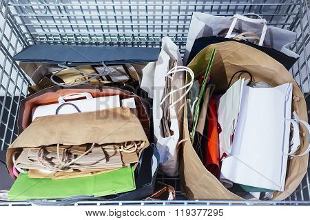 Recycle Paper Bags In Rubbish Recycling Basket Ecology Lifestyle Concept