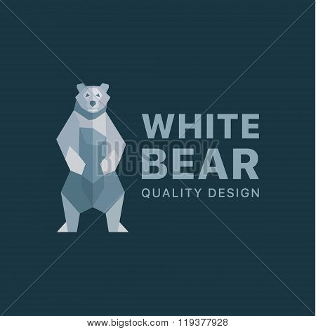 Polar Bear logo on a background of flat polygons low poly quality design illustrations