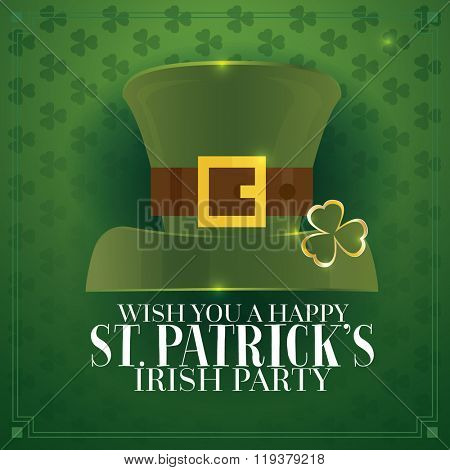 Typographic Saint Patrick's Day Retro Background with Green Hat. Vector illustration. Template for party flyers. St. Patrick's Day poster.