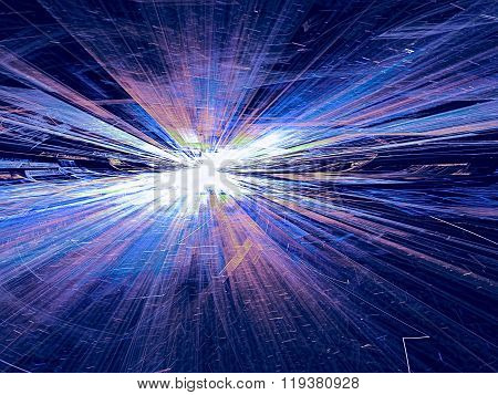 Abstract bright colored technology background computer-generated image with with glowing stripes and lines leaving the horizon. Fractal artwork for banners posters web design wallpaper desktop