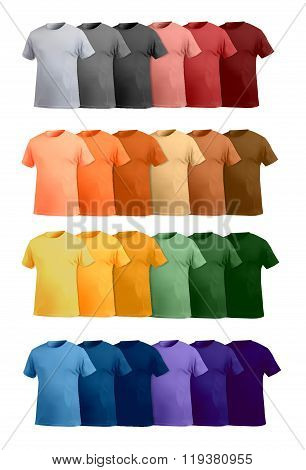 T-shirt template big colorful set, perspective view