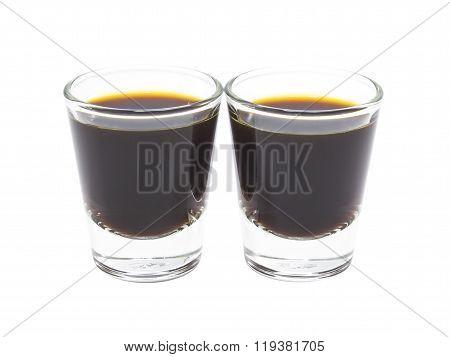 Coffee Espresso In Glass Shot