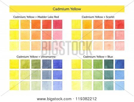 Cadmium Yellow - Watercolor Mixing Chart