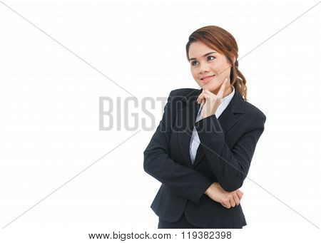 Asian Business Woman Thinking Isolated On White Background
