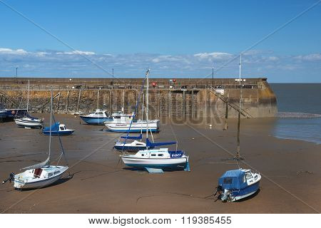 Fishing Boats At Low Tide, Penzance Harbour, Cornwall, England