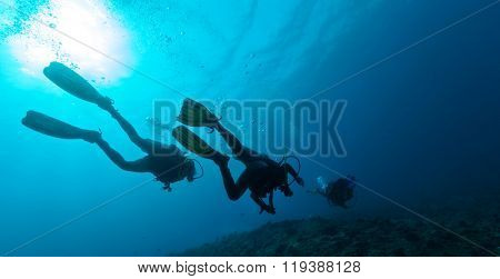 Group of scuba divers underwater in depth