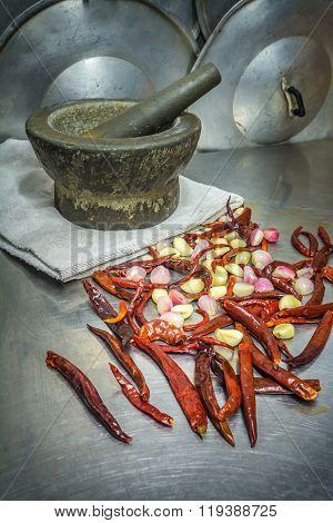 Pound And Grid Chili Paste, Still Life Thai Kitchen