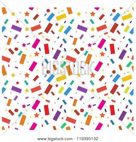 Party confetti, streamers pattern. Seamless. Vector. Illustration.