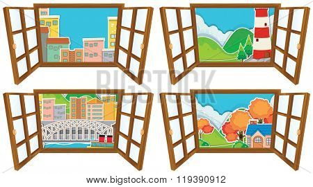 Four window scences of city and countryside illustration