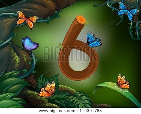 Number six with 6 butterflies in the garden illustration