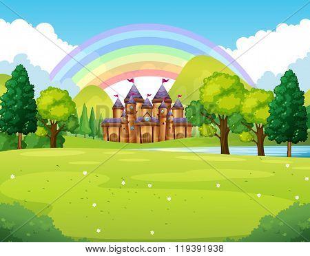 Castle in the faraway kingdom illustration
