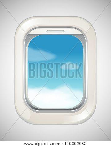 Sky scene from airplane window illustration