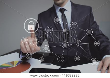 Businesswoman pressing security button on virtual screens,