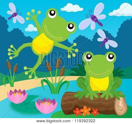Frog thematic image 1 - eps10 vector illustration.