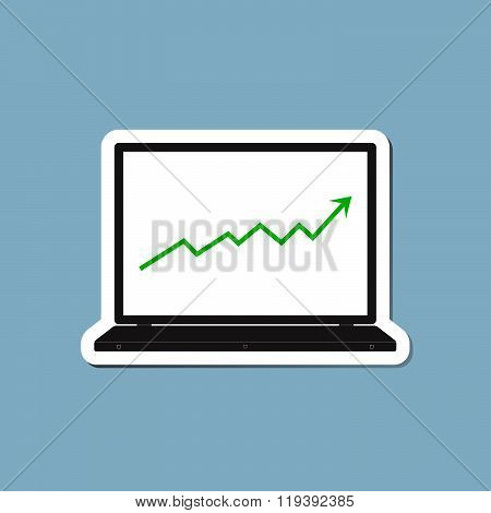 Stock Raise Up High With Laptop