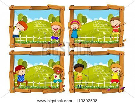 Four frames with children and hopscotch illustration