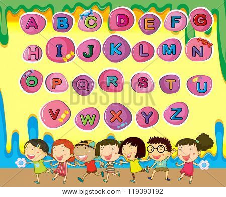 English alphabets with children background illustration